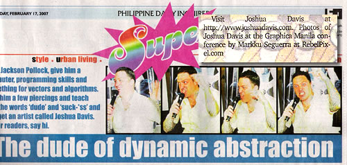 Photo of Joshua Davis published at Inquirer's Super.