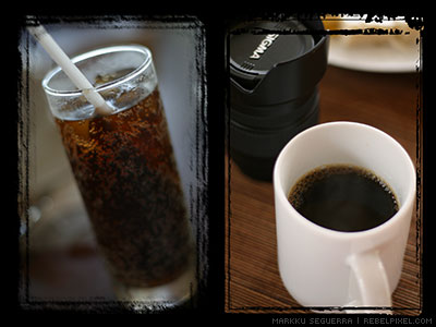 Coke and coffee.