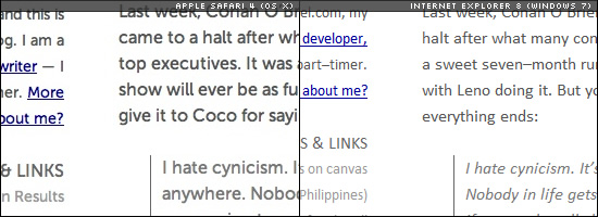 Image of text rendering sample of Apple Safari 4 on OS X and Internet Explorer 8 on Windows 7.