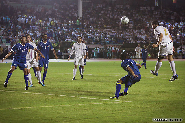 Rob Gier's early chance from a corner had the photographers' row almost scrambling.