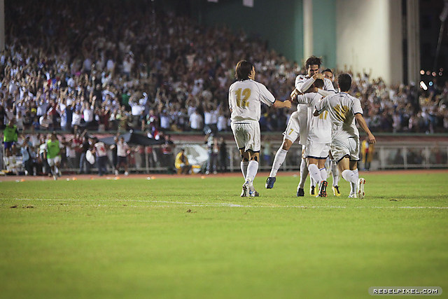 The Azkals celebrate Stefan Schrock's first–half goal in injury time.